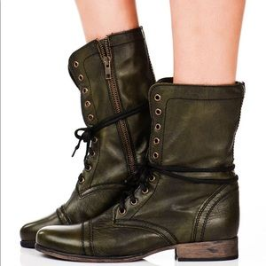 Steve Madden Boots Leather Combat Green 6 Troopa